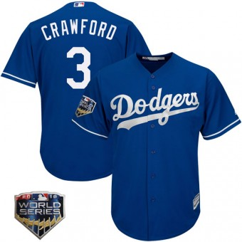 Youth Authentic Los Angeles Dodgers Carl Crawford Majestic Cool Base Alternate 2018 World Series Jersey - Royal