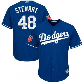 Youth Replica Los Angeles Dodgers Brock Stewart Majestic Cool Base 2018 Spring Training Jersey - Royal