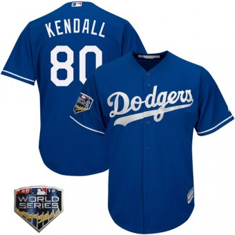 Youth Replica Los Angeles Dodgers Jeren Kendall Majestic Cool Base Alternate 2018 World Series Jersey - Royal