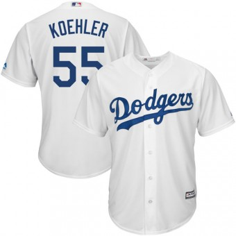 Youth Replica Los Angeles Dodgers Tom Koehler Majestic Cool Base Home Jersey - White