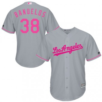 Authentic Los Angeles Dodgers Manny Banuelos Majestic Cool Base Mother's Day Jersey - Gray