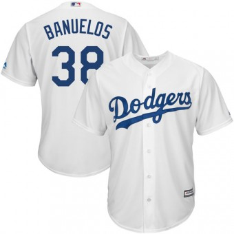 Replica Los Angeles Dodgers Manny Banuelos Majestic Cool Base Home Jersey - White